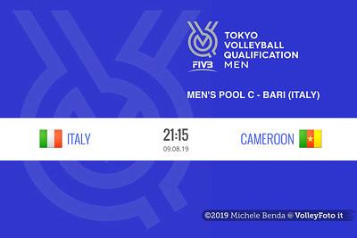 ITALIA vs CAMERUN, 2019 FIVB Intercontinental Olympic Qualification Tournament - Men's Pool C IT, 9 agosto 2019. Foto: Michele Benda per VolleyFoto.it [riferimento file: 2019-08-09/FIVB-IOQT-Cover2]
