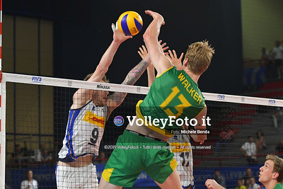 Samuel Walker, #13 of Australia, spikes against, Ivan ZAYTSEV,