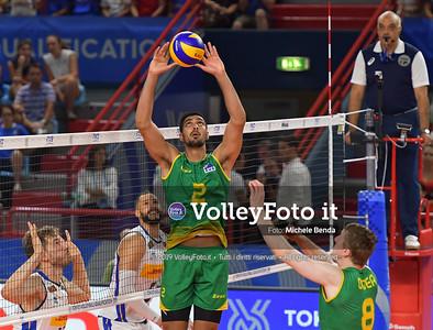 Arshdeep Dosanjh, #2 of Australia, sets a ball