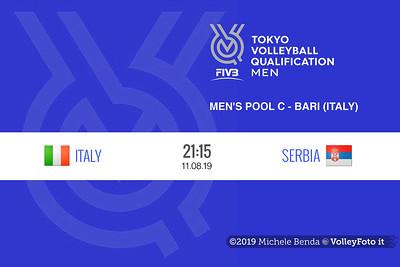 ITALIA vs SERBIA, 2019 FIVB Intercontinental Olympic Qualification Tournament - Men's Pool C IT, 10 agosto 2019. Foto: Michele Benda per VolleyFoto.it [riferimento file: 2019-08-10/FIVB-IOQT-Cover6]