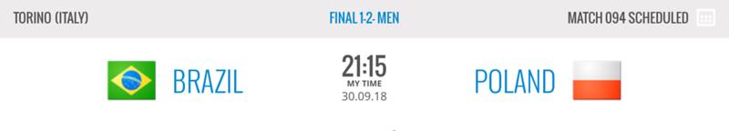 Brazil - Poland (Gold medal match) - FIVB Volleyball Men's World Championship Italy-Bulgaria 2018