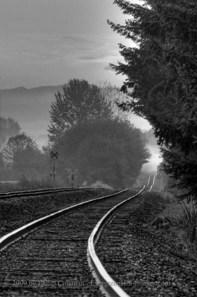 Rollercoaster rails at sunrise
