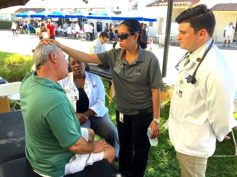 WesternU APhA and Executive SGA hosted the 7th Annual Interprofessional Health Fair at the LA County Fair Sept. 10, 2016. Students and faculty from eight colleges provided a variety of free health screenings and flu vaccines to LA County Fair patrons. (Jeff Malet, WesternU)