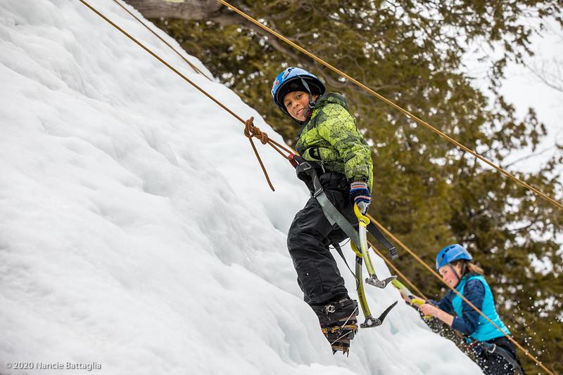Winter intersession activity, ice climbing, at North Country School, Lake Placid NY. photo by Nancie Battaglia