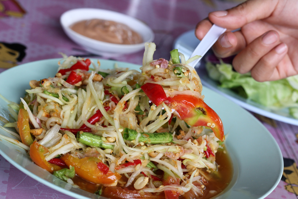A photo of Som tam thai - Thai cuisine