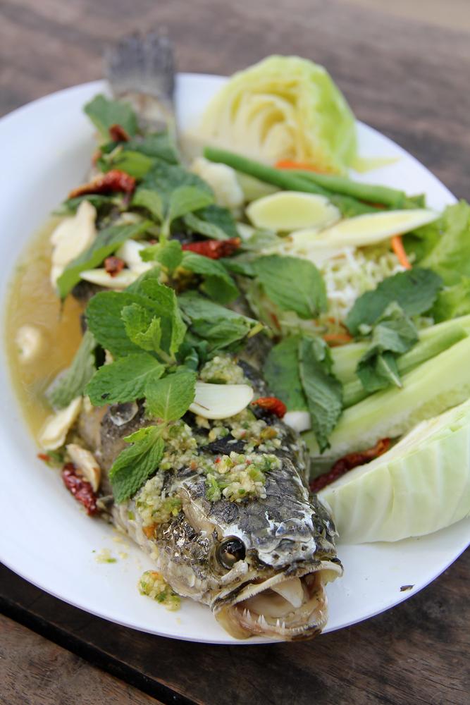 A photo of Pla chon lui suan - Thai cuisine