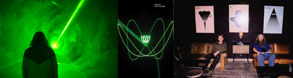 Robin Fox Using Lasers And Cathode Ray Oscillators To Make The Underlying Geometry Of Music Visible (Left And Center), Steve Elkins and Robin Fox In Mexico City (Right)