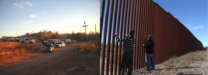 Steve Elkins and Glenn Weyant Turning The US / Mexico Border Wall Into A Musical Instrument For An Audience Of Border Patrol During Production Near Sasabe, Arizona