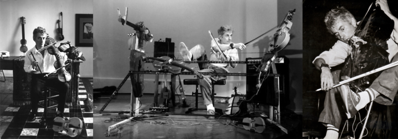 """For Jon Rose, the violin is not a fixed object: it's an atom in a universe of unexplored possibilities.  Whether developing his own unique language to play it, or curating masochist marathon concerts that require him to perform non-stop for over twelve hours at dangerously high speeds (to test the effects of fatigue on music), or  smashing his violin to pieces over the kitchen table before rebuilding it in countless mutant variations, Jon Rose has probably done more to advance the instrument than anyone in the last several hundred years.  <br /> <br /> In the 1970s and '80s, he invented a wind-powered violin with sails, a 5-String Trapezoidal Viola amplified through a washing machine powered revolving speaker, an FM Radio Violin that interrupts local radio stations when played, jet propelled collision violins, and The Data Violin played by live data from Wall Street traders (accompanied by a String Quintet performing Pennies From Heaven).  By the time I began production with Jon in Australia for """"The Reach Of Resonance,"""" he had created an entire chamber orchestra of bicycle powered instruments that performs by riding around the audience in an abandoned Sydney train station.<br /> <br /> [For more on Jon Rose's bicycle music, see my interview with Kaffe Matthews:  <a href=""""https://www.steveelkins.net/Interviews/On-Music/Steve-Elkins-Interviews-Kaffe/"""">https://www.steveelkins.net/Interviews/On-Music/Steve-Elkins-Interviews-Kaffe/</a>]"""