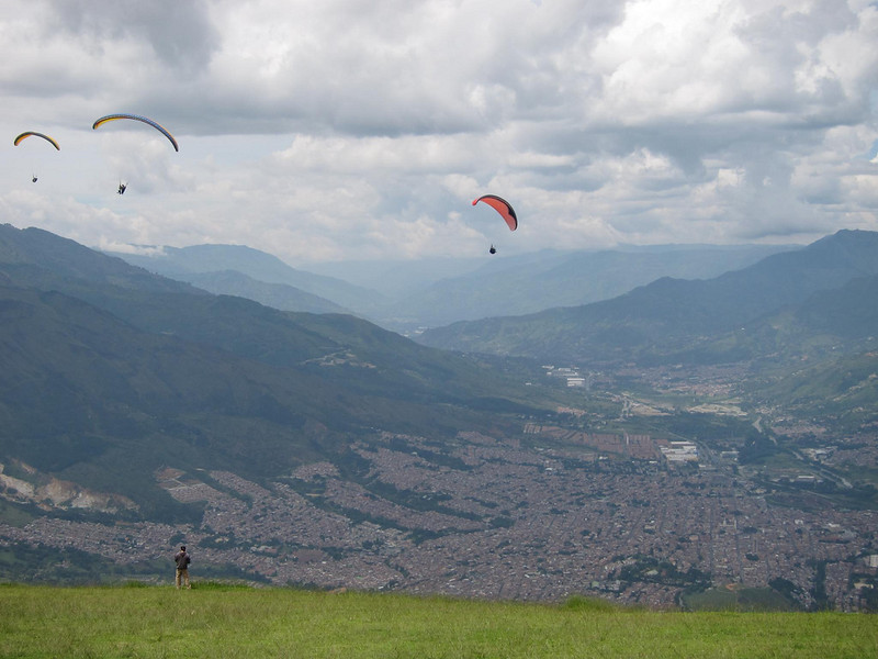Paragliding is a popular activity - Medellin, Colombia.