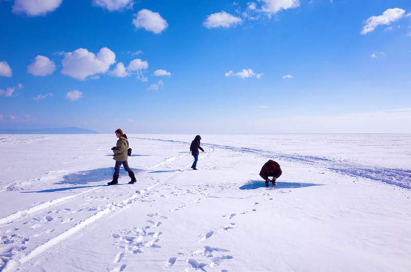Steve Elkins And Crew On The Frozen Surface Of Lake Baikal (Siberia)