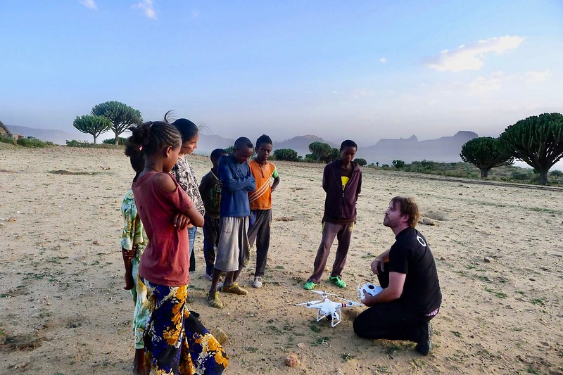 Steve Elkins And Local Children During Production In Ethiopia