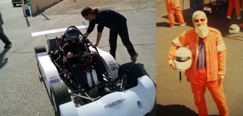 Ben In Drag Racing School (Right) And Test-Running Components He Made For Formula Pacific Race Cars (Left)