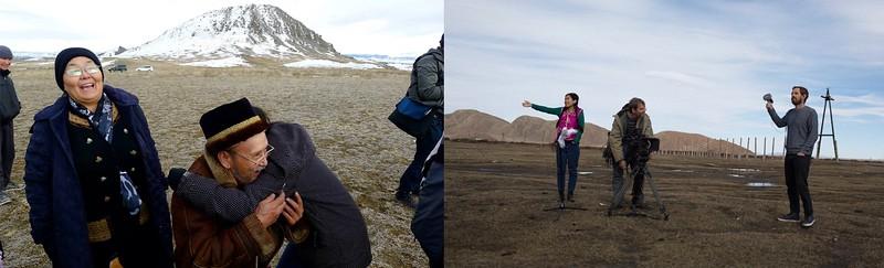 (Left To Right): Valentina Süzükei, Melissa Hugs A Musician In Remote West Tuva, Steve Elkins And Crew