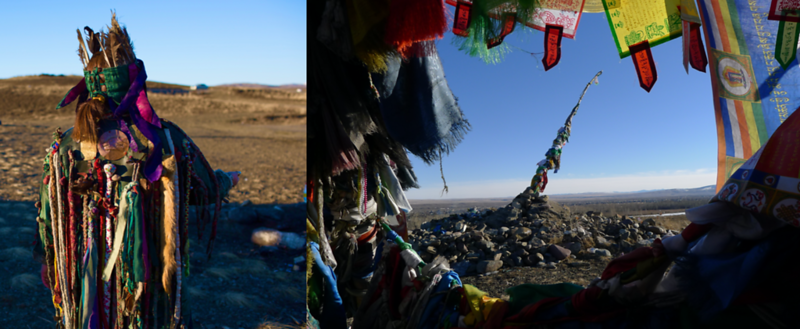 Tuvan Shaman and Ovaa (A Sacred Place Of Concentrated Spiritual Power Often Found In Mountain Passes)