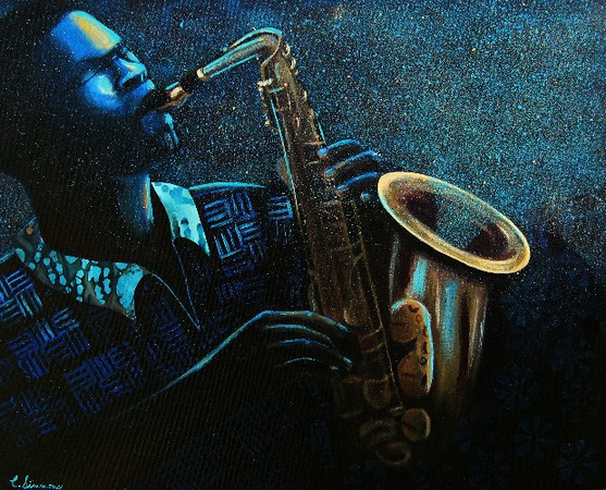 "What are some of your earliest or most poignant memories of music shaping   your work?<br /> <br /> [The four pictures featured in this interview] are four examples of music's influence on my creative process. My painting Lady Blue was inspired by Sade's song, ""Blue Is the Color of Love"". Laissez les Bon Temps Rouler and Jazz Man were inspired by New Orleans jazz and from listening to my husband playing his John Coltrane albums. Thank You was inspired by Aretha Franklin's version of the gospel, ""How I Got Over""."