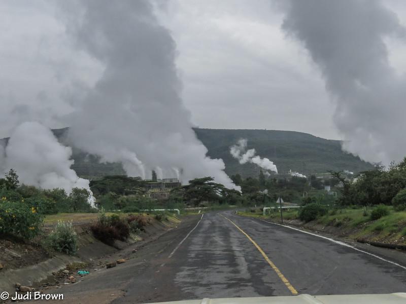 Olkaria Geothermal - largest geo-thermal project in Kenya.