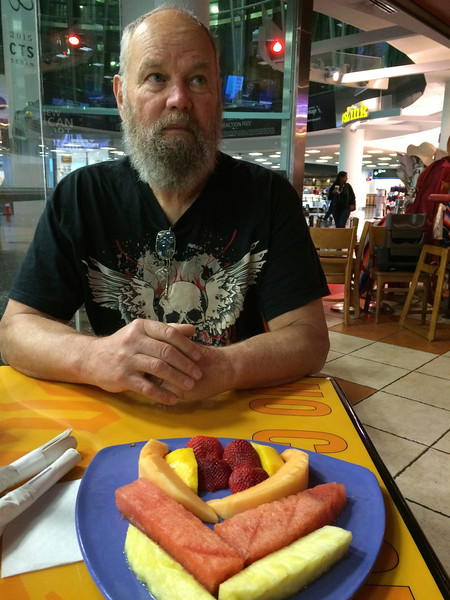 Charlie in Miami airport. Worried his much-enjoyed Cuban diet has come to an abrupt end - back to the Judi diet of fruits and vegetables.