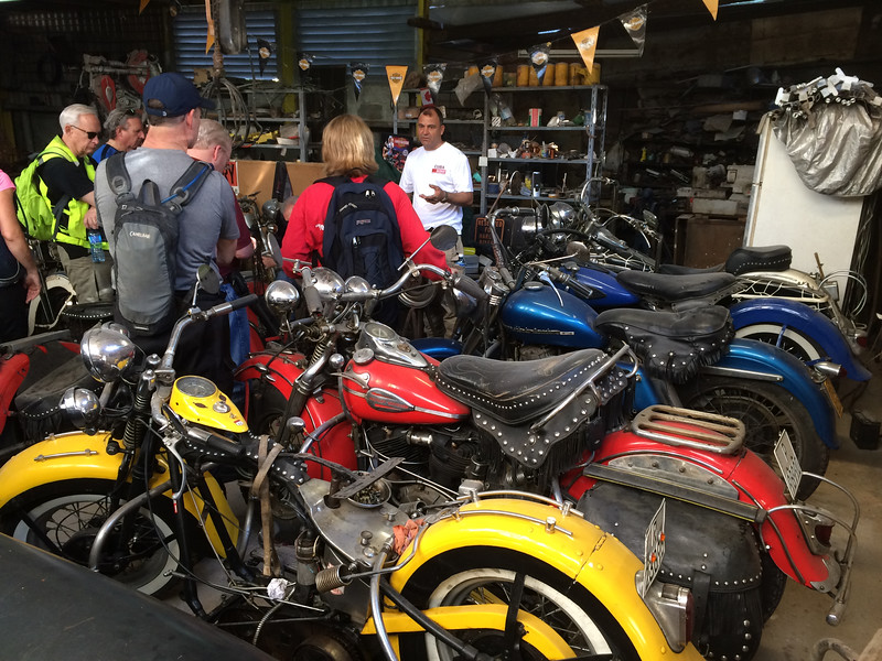 Luise's garage where he restores or keeps old Harley's on the road.