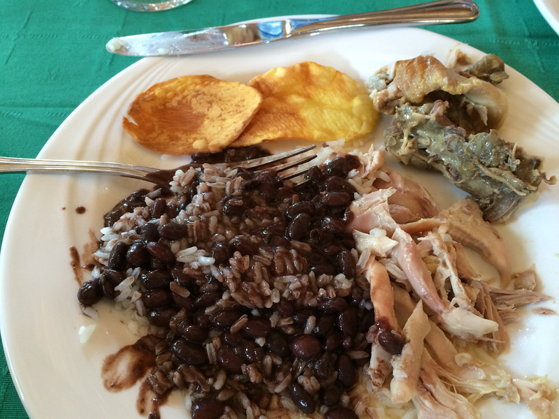 Typical and delicious government run restaurant fare:  black beans & rice, pulled chicken, and chips made with a root vegetable, not potatoes.