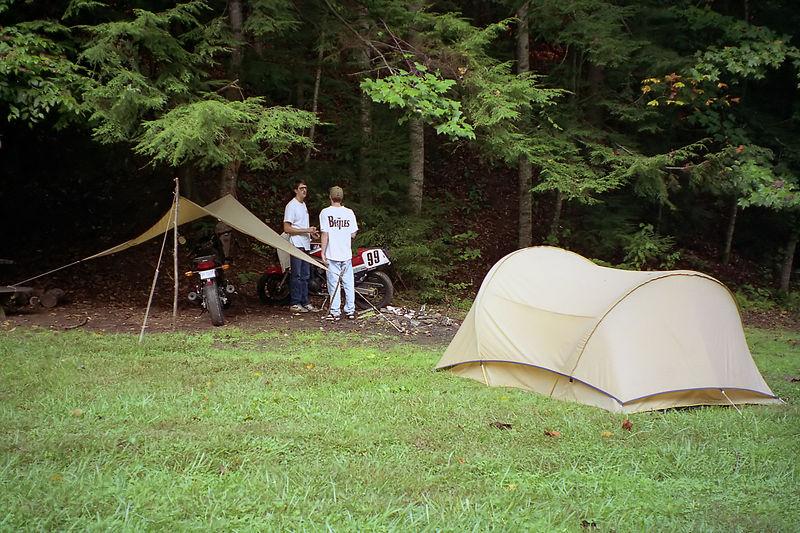 My home and garage at the campground. Mark Turner and Chris Phillips pictured.
