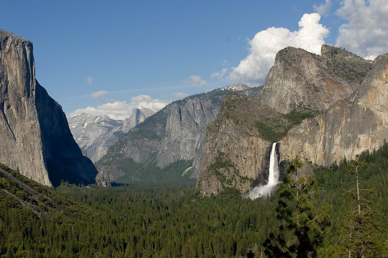 Valley floor, Bridal Fall, and Half Dome way back there...
