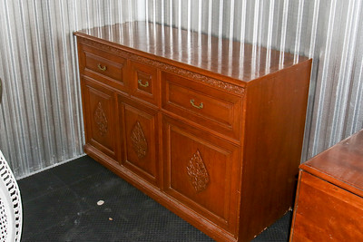 Teak audio cabinet also has 2 speaker units- House goods in storage 2014-15