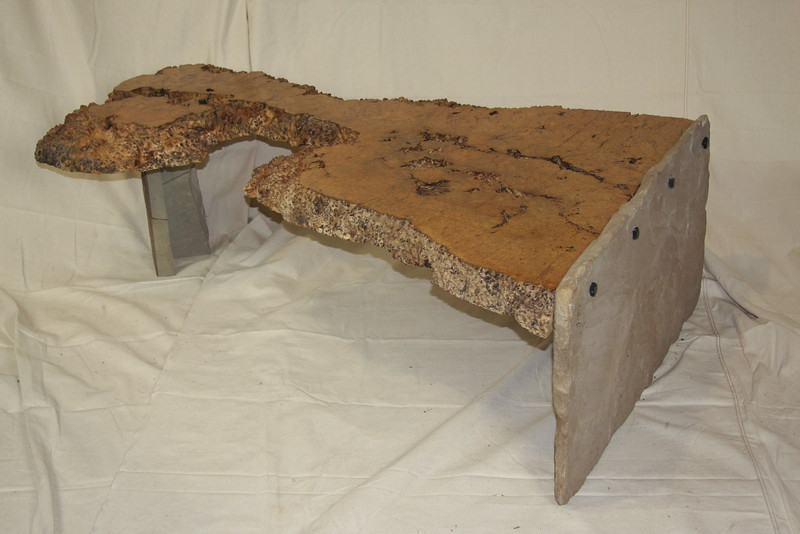 Maple Burl coffee table with rock.