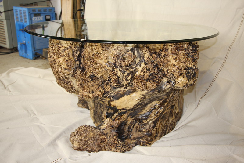 "Maple Burl Coffee table 36"" round. Dramatic hollow interior. $1,750"