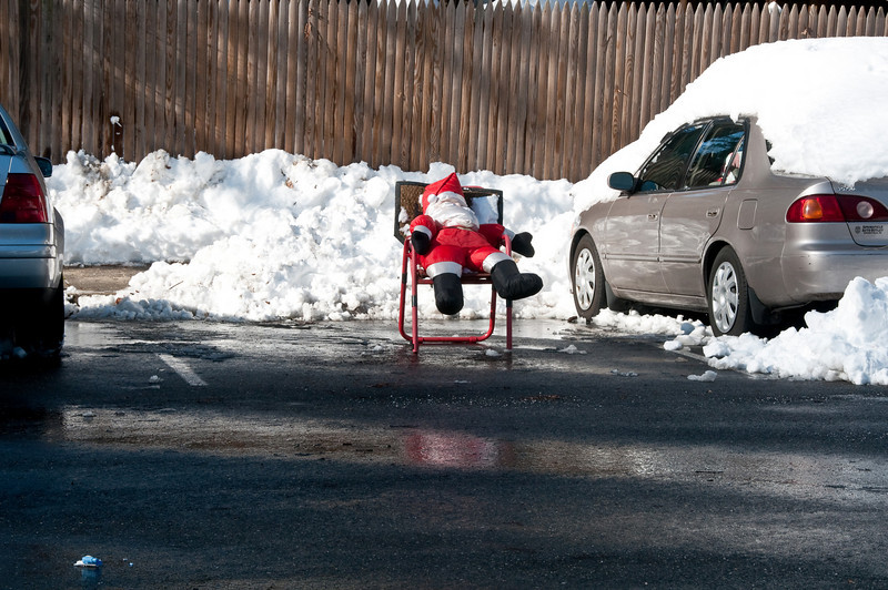 Santa finds a parking space.