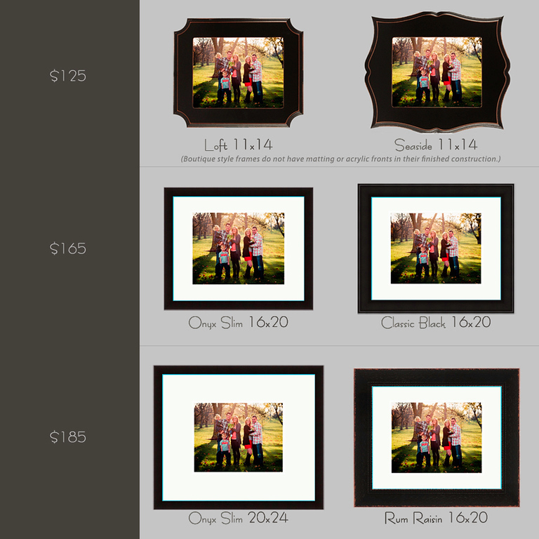 Here is an example of what a the same 11x14 framed print can look like with different matting and framing styles. Prices are for the stated sizes of frames with 11x14 print mounted and sealed with hanging hardware.