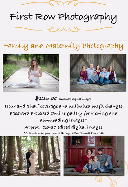 Investment/Price List - First Row Photography