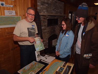 Brian showing map of the Border Route Trail