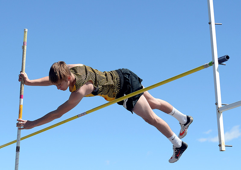 Thompson Valley's Airiel Siegel pole vaults Thursday, April 18, 2019, during the Lee Schwab invitational track meet at Loveland High School.  (Photo by Jenny Sparks/Loveland Reporter-Herald)