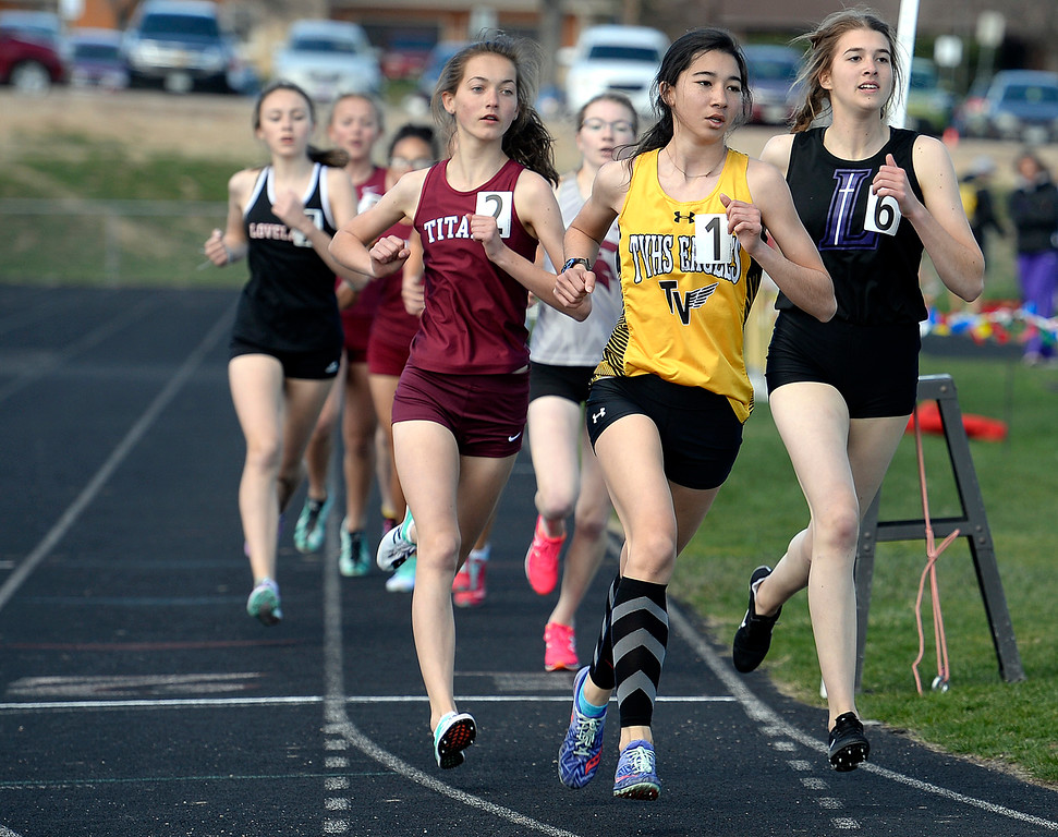 . Thompson Valley\'s Autumn Zhou runs the 800 meter race Thursday, April 18, 2019, during the Lee Schwab invitational track meet at Loveland High School.  (Photo by Jenny Sparks/Loveland Reporter-Herald)