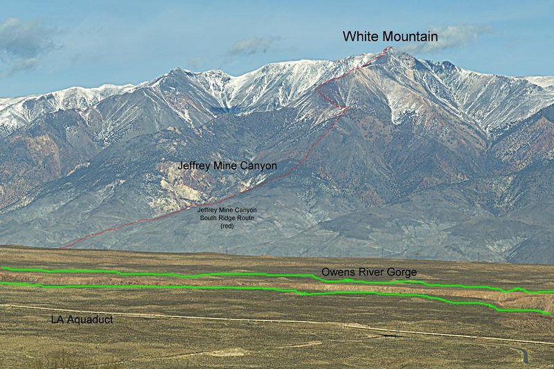 White Mountain from across the valley above Rovana<br /> <br /> The rim of the Owens River Gorge is marked in green. The Jeffery Mine Canyon South Ridge Route up White Mountain is labeled in red. See the previous image for an unlabeled view.<br /> <br /> Jan. 6, 2007