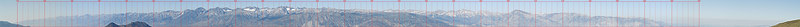 """This panorama shows the horizon from 175 to 305 true north from the pullout at the gate just north of Sierra Vista on the White Mountain Road, August 6, 2006.  Peaks labeled on the next copy of this image include, from North to South: Mount Dana, Mount Gibbs, Parker Peak, Blacktop Peak, San Joaquin Mountain, Mount Lyell, Mount Davis, Banner Peak, Mount Ritter,  Laurel Mountain, Mount Morgan, Mount Stanford, Mount Huntington, Round Valley Peak, P13125, Mount Morgan, Mount Abbot,Mount Dade, Mount Gabb, Bear Creek Spire, Mount Tom, Royce Peak, Marion Peak, Basin Mountain, Mount Humphreys, Checkered Demon,Mount Emerson, Mount Goethe, P13404, Mount Lamark, Mount Mendel, Mount Darwin, P13332, Mount Haeckel, Mount Wallace, Mount Thompson, Mount Gilbert, P13112, Thunder and Lightning Peak, Cloudripper, Mount Agassiz, Mount Winchell, Thunderbolt Peak, Starlight Peak, North Palisade, Temple Craig, Mount Sill, Mount Jepson, Palisade Crest, Norman Clyde Peak, Middle Palisade, Disappointment Peak, The Thumb, Mount Bolton Brown, Birch Mountain, Split Mountain, Mount Tinemaha, Cardinal Mountain, Striped Mountain, Mount Pinchot, Mount Perkins, Mount Cedric Wright, Mount Baxter, Black Mountain, Mount Mary Austin, University Peak, Junction Peak, Mount Bradley, Mount Tyndal, Mount Williamson, Mount Whitney, Mount McAdie,Mount Irvine, Mount Corcoran, Mount Langley, Owens Point, Olancha Peak, Wonoga Peak, Horseshoe Meadow Road  <a href=""""http://www.dbdimages.com/photos/88658057_keV3c-O.jpg""""TARGET=""""blank"""">View large in another window.</a> Use your viewer's zoom function if necessary."""