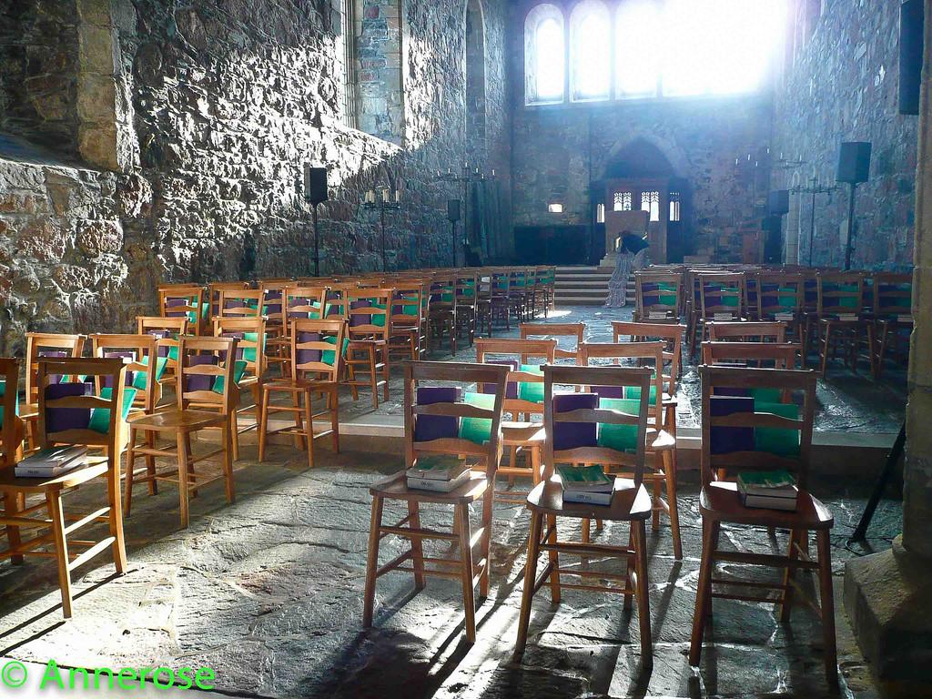 Iona Abbey vor dem Gottesdienst