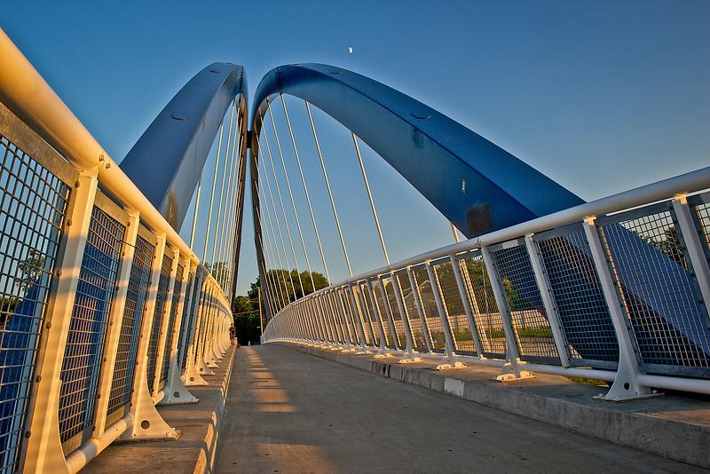 Bridge with moon and child