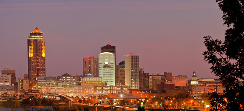 Downtown Des Moines seen from the south side.
