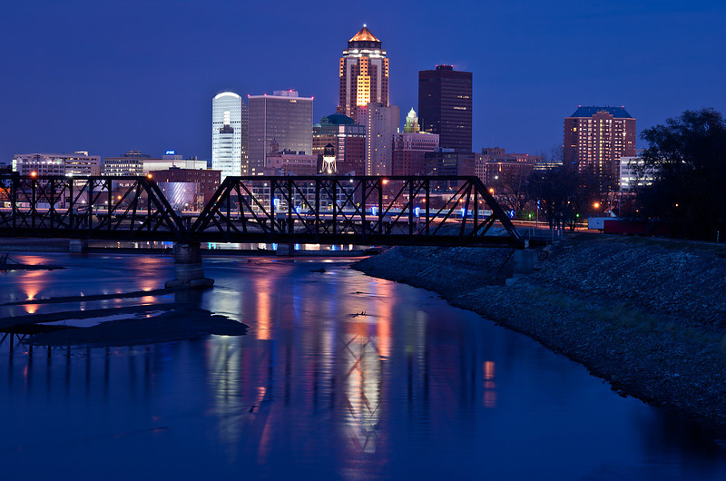 Downtown Des Moines seen from the southeast side.