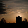 Corn crib at sunrise