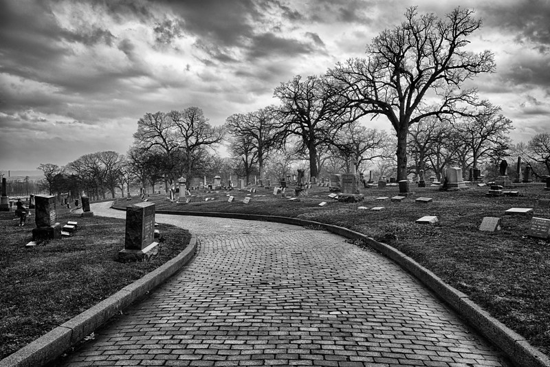 Brick road in cemetery
