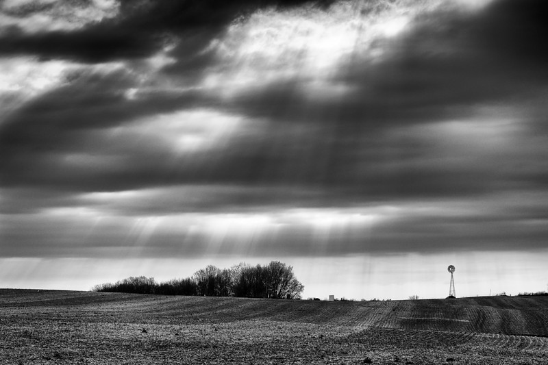 God rays over wind mill