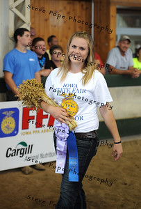 Morgan Diedrich, of the DeWitt Central FFA chapter, received Reserved Champion Sheaf Grains in the FFA Parade of Champions at the Iowa State Fair on Aug. 10. (Iowa State Fair/ Steve Pope Photography)