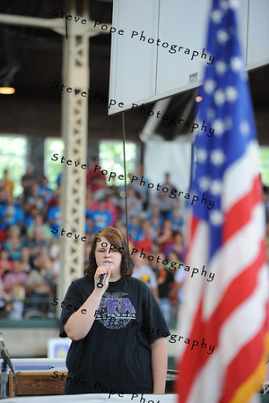 Megan Henry, of Indianola, sings the National Anthem before the FFA Parade of Champions at the Iowa State Fair on Aug. 10. (Iowa State Fair/ Steve Pope Photography)