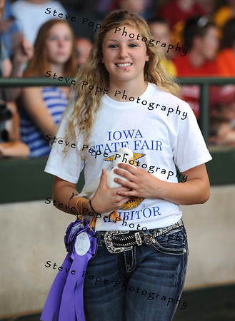 Grand Champion Overall Waterfowl and Champion Breeder Duck went to Alaina Martensen, with Midland FFA at Wyoming, in the FFA Parade of Champions at the Iowa State Fair on Aug. 10. (Iowa State Fair/ Steve Pope Photography)