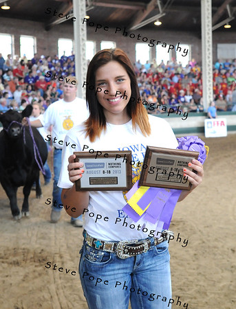 Reserve Champion Hotel/Restaurant Window C-Live and Champion Performance Beef Steer was exhibited by Tessa Mann of the North Fayette FFA chapter at West Union in the FFA Parade of Champions at the Iowa State Fair on Aug. 10. (Iowa State Fair/ Steve Pope Photography)