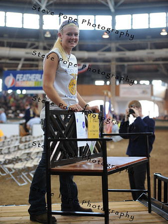 Natalie Johnson, of the I-35 chapter at Truro shows her small metalworking project in the FFA Parade of Champions at the Iowa State Fair on Aug. 10. (Iowa State Fair/ Steve Pope Photography)