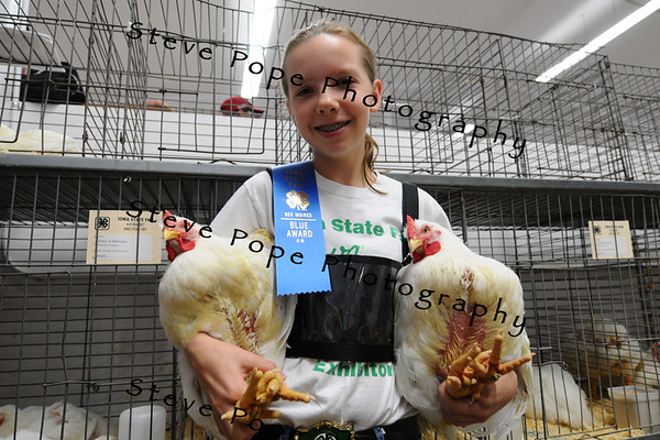Bobbi Jo Bellmann, 13, of Dubuque, shows of her award winning poultry at the Iowa State Fair on Aug. 8. (Iowa State Fair/ Steve Pope Photography)